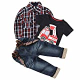 3Pcs Summer Fall Boy Plaid Handsome Coat + T-shirt + Suspender Jean Sets,Black,5(5)