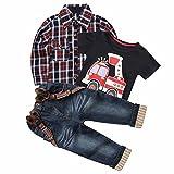 3Pcs Summer Fall Boy Plaid Handsome Coat + T-shirt + Suspender Jean Sets