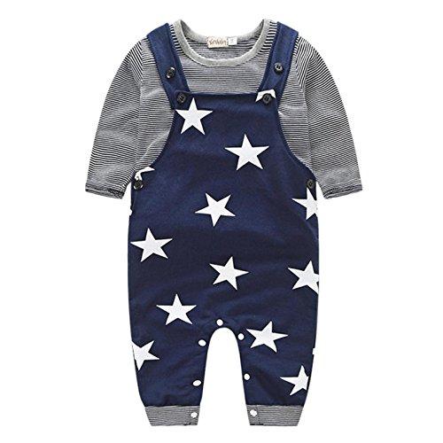 Baby Vintage Lamb Costumes (Baby Clothes Set, PPBUY Baby Boys Pants Sets Stripe T-shirt Top + Bib Pants Outfits (6M, Navy))