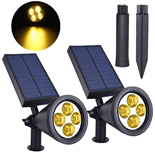 SolisFlare Solar-Spotlights 2-in-1 Solar Powered 4 LED Solar-Lights Auto On/Off Solar-Spot Lights-Outdoor Adjustable Landscape (Warm White)