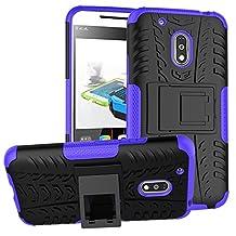 Moto G Play Case, Asstar Shock Absorption Impact Resistant Hybrid Dual Layer Slim Protector Kickstand Case Cover for Cover for Motorola Moto G4 Play (2016) (Purple)