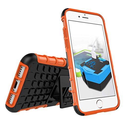 """4.7"""" iPhone 7 Coque, AOFad Case Protection des lourds Béquille Soft Feel orange Plastique Vidéo Frais Accessoires Série Pour Femme Homme L248"""