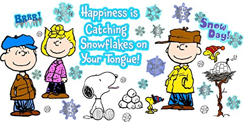 Eureka Classroom Bulletin Board Set, Peanuts Happiness Is A Snowflake Winter Bulletin, 18'' x 28'', 39 pc. -