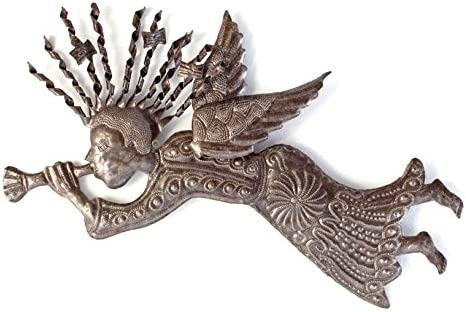 Metal Angel Wall Art, Spiral Hair 3D Wing, Home Decor, Handmade in Haiti, Holiday Decor, 22 x 12 Inches