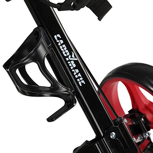 Caddymatic Golf X-TREME 3 Wheel Push/Pull Golf Cart with Seat Black/Red