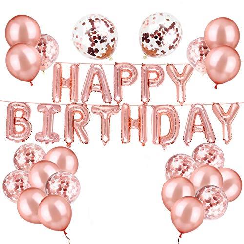 luckypopy Rose Gold Happy Birthday Balloons Confetti Balloons