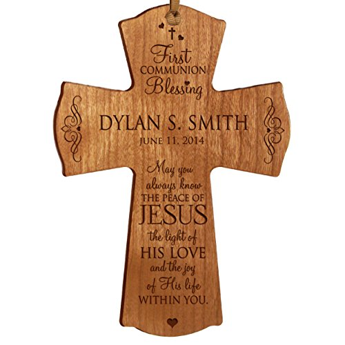 Personalized Boys Wall Cross (Personalized Baptism 1st Holy Communion Christening Gifts Custom Wall Cross Decoration May You Always Know the Peace of Jesus the Light of His Love (4.5