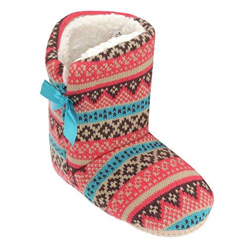 Mädchen Strickhausschuhe mit Fußbündchen und Streifenmuster Pink/Blau