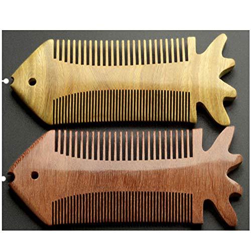2 Colors Sandal Wood Hair Comb Flatfish Shaped Pocket Beard Comb