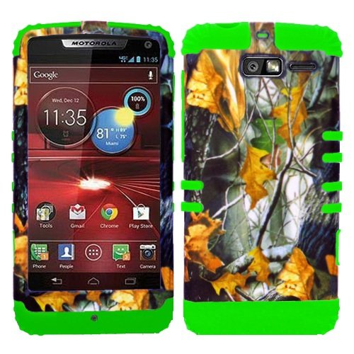 CellPhone Trendz Hybrid 2 in 1 Case Hard Cover Faceplate Skin Lime Green Silicone and Camo Mossy Hunter Dry Leaves Snap Protector for Motorola DROID RAZR M (XT907, 4G LTE, Verizon)