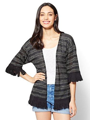 New York & Co. Women's Fringe-Trim Kimono Jacket Xlarge Black