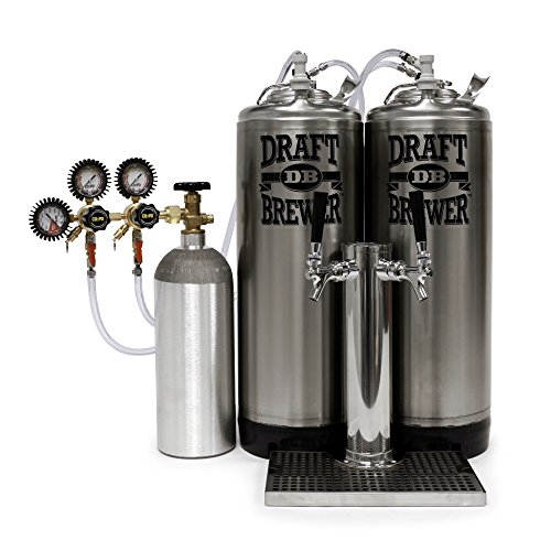 Kegerator King - Two Ball Lock Keg Mini Fridge Conversion Kit for Homebrew Beer with Draft Tower, Dual Body CO2 Regulator, and 5 lb. CO2 Cylinder