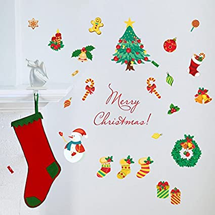 romantiko christmas wall stickers christmas decorations removable art decor diy snowman christmas candy wall decal for