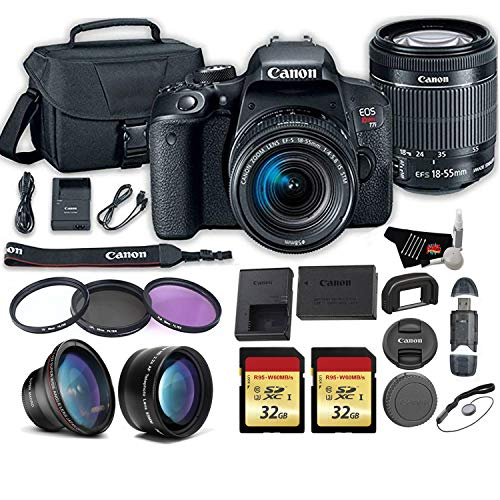 Canon EOS Rebel T7i DSLR Camera with 18-55mm is STM Lens + Wide Angle and Telephoto Lens + 2X 64GB Memory Cards + More