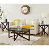 3pc Coffee Table Set Picket House Furnishings Trinity 3 Piece Glass Top Coffee Table Set