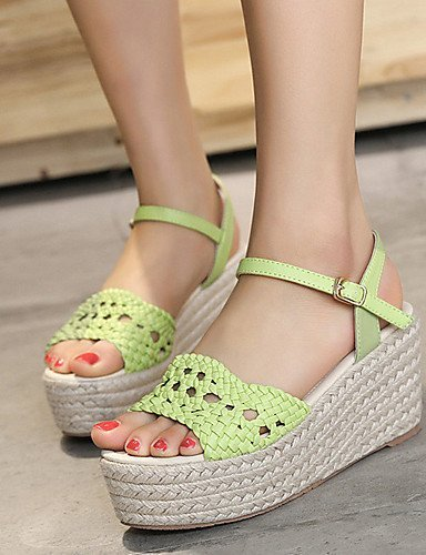 ShangYi Womens Shoes Leatherette Wedge Heel Open Toe Sandals Dress Green / White Green