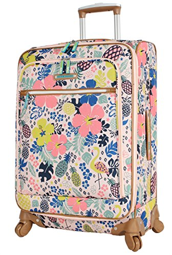 Lily Bloom Luggage 24″ Expandable Design Pattern Suitcase With Spinner Wheels For Woman (24in, Trop Pineapple)