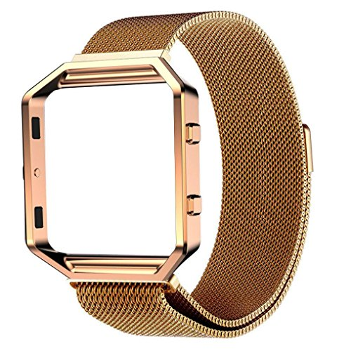 - Egmy® Fitbit Blaze Milanese Magnetic Loop Stainless Steel Bands Strap Bracelet for Smart Fitness Watch + 1pc Metal frame (Completely fit Watches) (Gold 2)