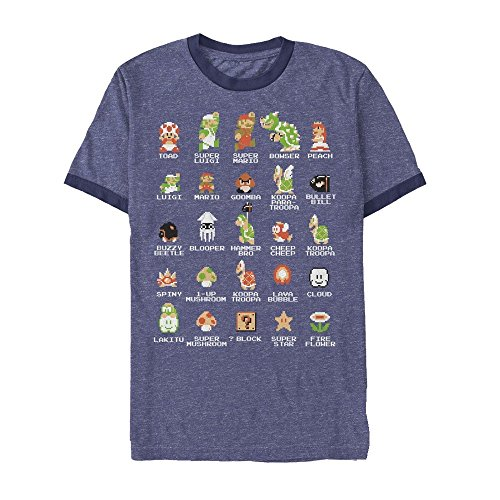 (Nintendo Men's Super Mario Bros Character Guide Heather Royal Blue/Navy Ringer T-Shirt)