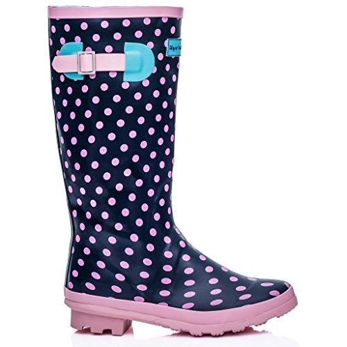 KNEE HIGH FLAT FESTIVAL WELLIES RAIN BOOTS PINK RUBBER SZ 8 pNqJ0XL4UE