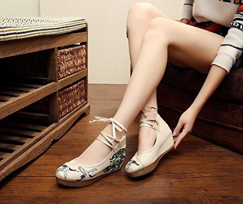 WXT Zapatos bordados, lino, lenguado del tendón, estilo étnico, zapatos femeninos aumentados, manera, cómodo, ocasional beige
