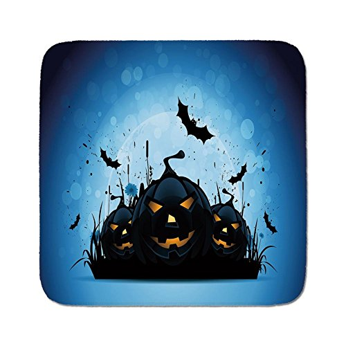 Cozy Seat Protector Pads Cushion Area Rug,Halloween,Scary Pumpkins in Grass with Bats Full Moon Traditional Composition Decorative,Black Yellow Sky Blue,Easy to Use on Any Surface -