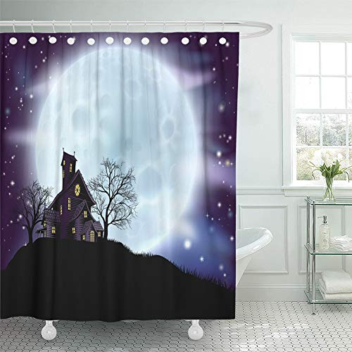 (Emvency Shower Curtain Set Waterproof Adjustable Polyester Fabric Purple of Scary Halloween Haunted House in Silhouette with Spooky Trees Blue 66 x 72 Inches Set with Hooks for)