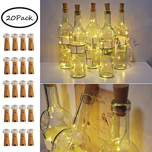 20 Pack 10 LED Bottle Cork String Lights, Wine Bottle Fairy Mini String Lights Copper Wire, Battery Operated Starry Lights for DIY, Christmas, Halloween, Wedding, Party, Indoor&Outdoor (Warm White)
