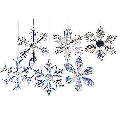 Kurt Adler Glass Iridescent Snowflake Ornament Set OF 24]()