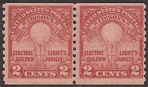 (US Stamp - 1929 Electric Light - Coil Pair MNH - Scott)