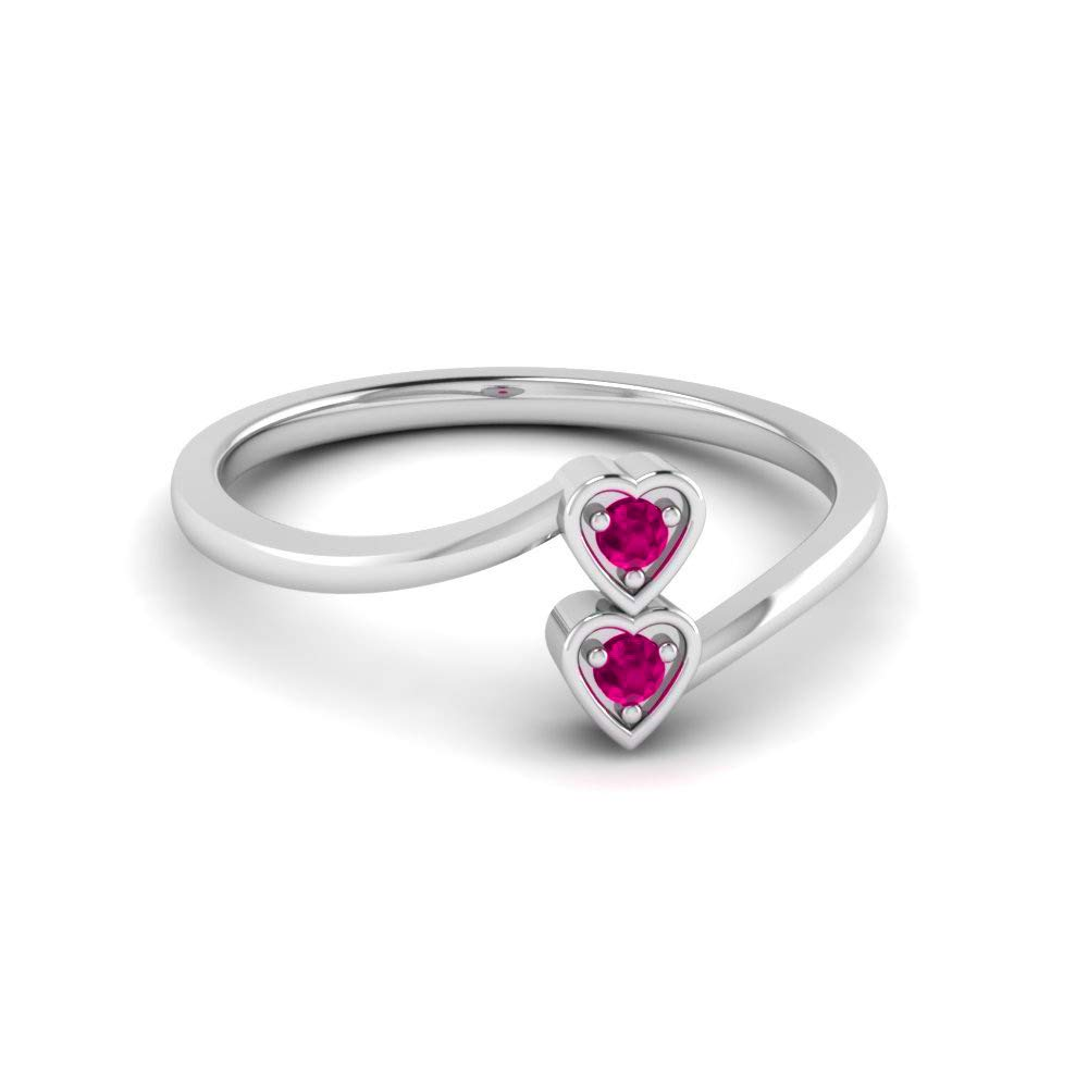 Silvergemking 0.70CTW Round Shape Pink Sapphire Diamond Two Heart Wedding Ring 14K White Gold Fn