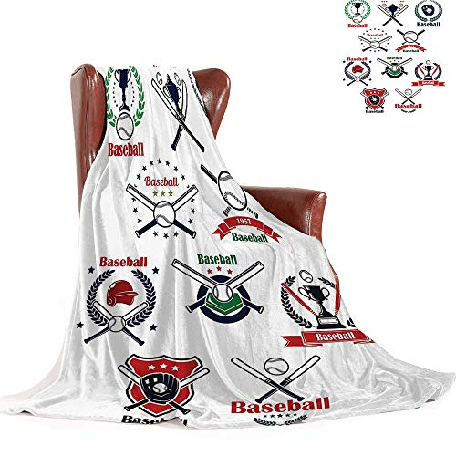 SATVSHOP Super Soft Lightweight blanket-60 x36-Custom Designed Comfortable Flannel blanke.Sports Baseball Glov Helmet Balls Crossed Bats Home Plate and Trophy Cups.