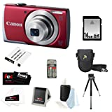 Canon PowerShot A2500 16.0 MP Digital Camera (Red) + 16GB SD HC Memory Card + Point & Shoot Camera Case + Focus Universal Memory Card Reader + Accessory Kit
