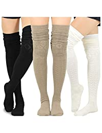 Teehee Women's Fashion Extra Long Cotton Thigh High Socks - 3 Pair Pack