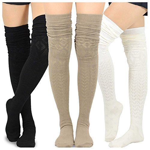 (Teehee Women's Fashion Extra Long Cotton Thigh High Socks - 3 Pair Pack (Pointelle))