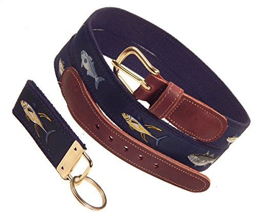 Preston Leather Four Fish Belt, Navy, Sizes 30 to 50, FREE Matching Key Ring (Size 36) (Designs Nautical)