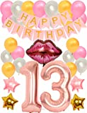 Meant2ToBe 13th BIRTHDAY PARTY DECORATIONS KIT - Rosa 13th Birthday Decoration Party Supplies, 13th Birthday Balloons Rose, 13th Birthday Banner, Gold and Rosa 13th Birthday Party (Wall Decorations)