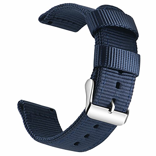 - OLLREAR Canvas Watch Strap Replacement Woven Fabric Watch Band -13 Colors & 4 Sizes - 18mm, 20mm, 22mm, 24mm (24mm, Dark Blue)