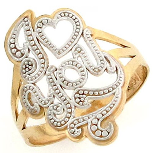 Jewelry Liquidation 10k Solid Two Tone Gold I Love You Heart Filigree Ring