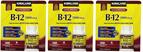 Kirkland Signature Sublingual B-12 5000 mcg, 300 Tablets (3 Pack) by Kirkland Signature