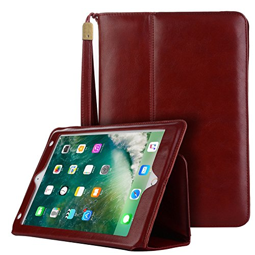 Protective Case 2018 iPad 9.7',PU Leather Case Tablet Smart Stand Case [Rugged Protective][well made] Slim Fit Cover with Card Slot and Hand Strap for iPad Air/Air 2/iPad Pro 9.7/2017&2018 New iPad