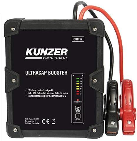 Kunzer Csc 12 Wartungsfreie Starthilfe 12v Mit Ultrakondensatortechnik Batterielos Betriebenes Batterie Startgerät Auto