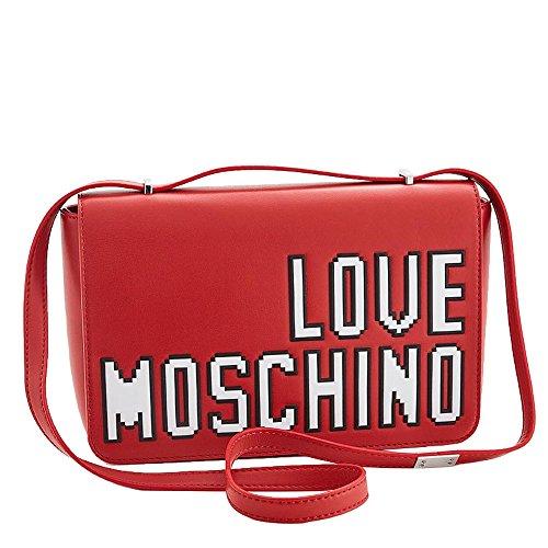 LOVE MOSCHINO Pixel Logo Shoulder Bag, Red