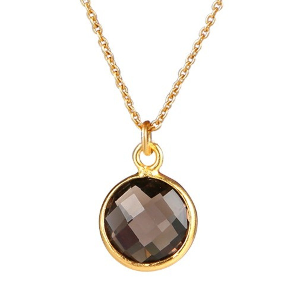 Nathis Simple Yet Elegant Necklace a Round Pendant of Smoky Topaz
