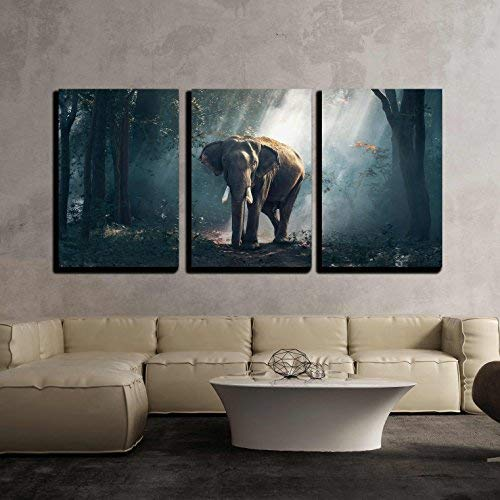 """wall26 - 3 Piece Canvas Wall Art - Elephants in The Forest - Modern Home Art Stretched and Framed Ready to Hang - 16""""x24""""x3 Panels"""