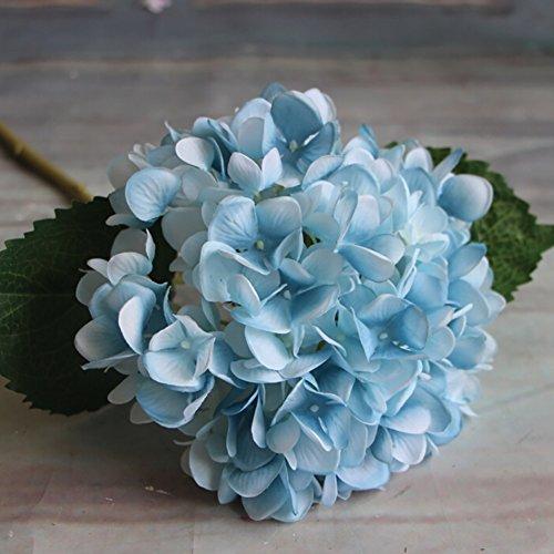 Adarl Artificial Flower Fake Flower Silk Hydrangea Flower Bouquet For Home Office Decor Party Festival Wedding Decoration(Blue,5pcs)