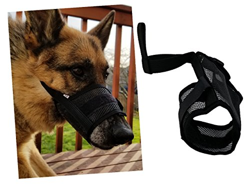 Simply Pure Products Medium Dog Muzzle, Breathable mesh for Safety and Comfort, Dog Muzzle Prevent Biting, Chewing, Barking and Licking. Adjustable (M)