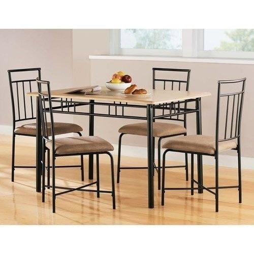 Modern Furniture 5 pcs Dining Table Set Wood Metal Chairs Dinner Kitchen Dining Room