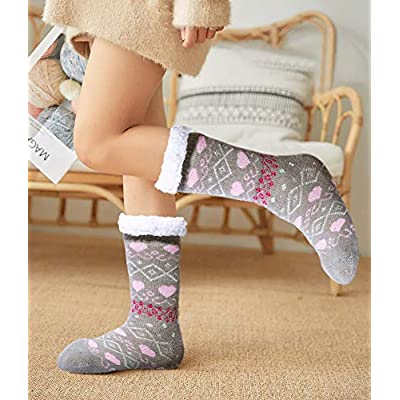 2 Pairs Womens Winter Warm Thick Cozy Fuzzy Sherpa Fleece Lined Christmas Slipper Socks With Grippers at Amazon Women's Clothing store