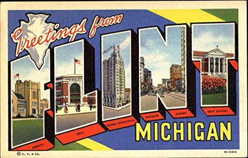 Greetings From Flint Flint, Michigan Original Vintage Postcard from CardCow Vintage Postcards